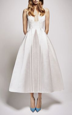 The Logan Silk Duchess Eyelet V Neck Midi Dress by ALEX PERRY for Preorder on Moda Operandi