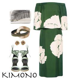 """""""green kimono"""" by elisire ❤ liked on Polyvore featuring TIBI, Tamara Mellon, Givenchy and kimonos"""