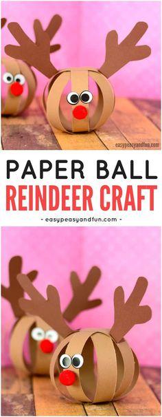 Arte adorable del reno de la bola de papel.  Actividad perfecta de manualidades navideñas para que los niños hagan.