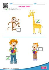Kindergarten math tall and short worksheets with printable. Kids will be able to identify and tick the taller one and shorter one on different worksheets. Kindergarten Math Worksheets, 1st Grade Worksheets, Preschool Printables, Kindergarten Worksheets, Printable Worksheets, Free Preschool, Maths, Free Printables, Nursery Worksheets