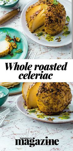 Celeriac isn't totally new to us; you've probably eaten it boiled or mashed on the side of a roast but now it's being reinvented, roasted whole and as much more than a just side dish Celeriac Recipes, Turmeric Recipes, Vegan Dishes, Vegan Food, Food Food, Top Recipes, Vegan Recipes, Yummy Lunch, Recipes