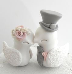 Lovebirds Wedding Cake Topper, White, Dusty Pink and Grey, Bride and Groom Keepsake, Fully Customizable by LavaGifts on Etsy https://www.etsy.com/listing/220277232/lovebirds-wedding-cake-topper-white