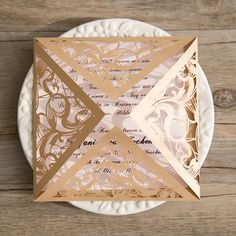 Wedding Invitations Online Gold Laser Cut Pink Wedding Invitations IWSM037 -