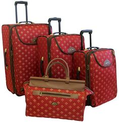 Luggage Sets Collections   American Flyer Luggage Lyon 4 Piece Set Metalic Red One Size -- See this great product. Note:It is Affiliate Link to Amazon. #home