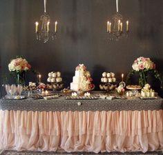 Wedding reception table dessert cake cakes grey pink cream, baroque romantic classic cream