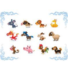 Animals symbols of chinese horoscope on VectorStock