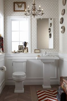 Farmhouse Powder Room - Design photos, ideas and inspiration. Amazing gallery of interior design and decorating ideas of Farmhouse Powder Room in bathrooms, laundry/mudrooms by elite interior designers - Page 19 Wainscoting Bathroom, Downstairs Bathroom, Bathroom Chair, Kohler Bathroom, Bathroom Wallpaper, Beige Wallpaper, Wallpaper Stencil, Bathroom Fixtures, Office Bathroom