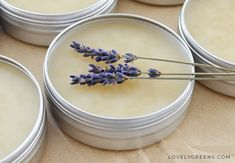Easy recipe and instructions for making natural lavender body balm. Recipe includes shea butter, beeswax, and pure lavender essential oil