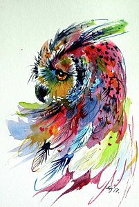 Owl Painting - Cute Colorful Owl by Kovacs Anna Brigitta