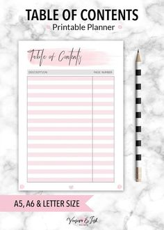 Table of contents Planner Printable Printable Planner Bujo bullet journal bujo printable bujo t Bullet Journal Table Of Contents, Bullet Journal Writing, Bullet Journal Layout, Bullet Journal Inspiration, Bullet Journals, Journal Ideas, Table Of Contents Design, Table Of Contents Template, Design Table