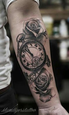 stairs to clock tattoo Watch Tattoos, Time Tattoos, New Tattoos, Body Art Tattoos, Tattoos For Guys, Cool Tattoos, Baby Tattoos, Family Tattoos, Best Sleeve Tattoos