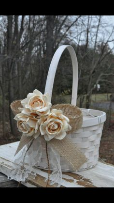 Burlap and Lace Flower Girl Basket - Rustic Flower Girl Basket - Burlap Flower Girl Basket. Minus the burlap :) Rustic Flower Girls, Lace Flower Girls, Rustic Wedding Flowers, Burlap Flowers, Flower Girl Basket, Lace Flowers, Purple Flowers, Burlap Lace, Pink Roses