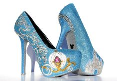 Cinderella Heels with Swarovski Crystals on Baby Blue Glitter Platforms. Yup, I really want them.