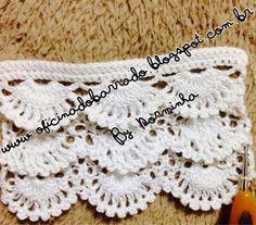 """Depois de muita observação e atendendo solicitações, mostro para vocês, minha versão deste """"diversificado""""  BARRADO ... Crochet Edging Patterns, Filet Crochet Charts, Crochet Lace Edging, Crochet Borders, Crochet Squares, Crochet Trim, Lace Patterns, Crochet Stitches, Crochet Baby"""