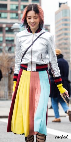 Irene Kim's Rainbow Hair With a Matching Colorful Striped Skirt at New York Fashion Week // More Winter Style Ideas from the Best NYFW Fall 2016 Street Style: (http://www.racked.com/2016/2/12/10966400/nyfw-street-style-fall-2016)