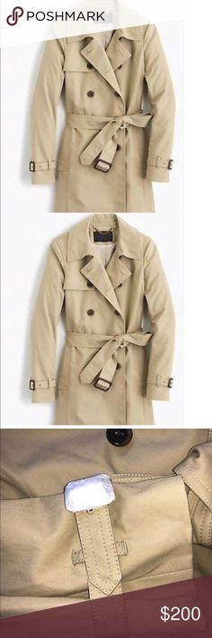 Jcrew collection Icon trench coat in tan size 12 Brand new with tans Jcrew collection icon trench coat . Size 12 J. Crew Jackets & Coats Trench Coats