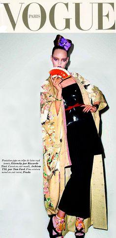 A kimono on the cover of Paris Vogue.