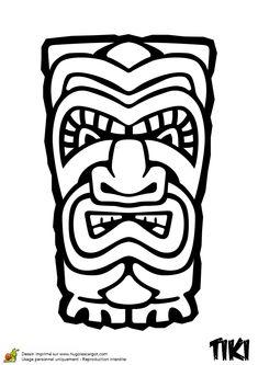 A colorier, un Tiki de la nuit