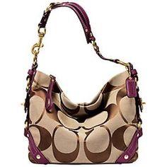 Coach Signature Carly Hobo Zip Handbag Khaki Purple Magenta 10619 (Apparel)