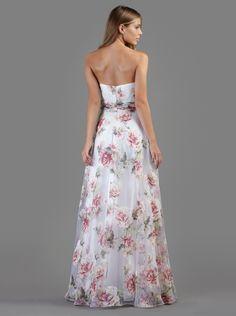 Long evening dress with floral motif
