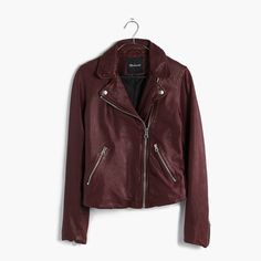 madewell washed leather motorcycle jacket.