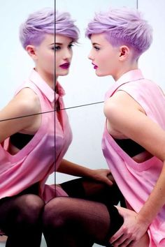 Purple Colored Short Hairstyle