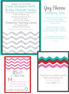 chevron wedding invites, teal and red wedding invites, grey wedding invitations, affordable wedding invitations from Party Box Design, chevron wedding invites