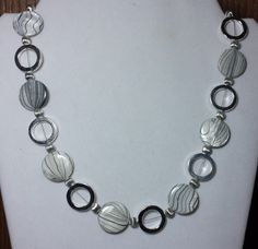 Handmade Beaded Necklace with Black Striped by KimsSimpleTreasures, $20.00