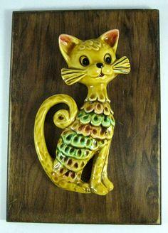 1970s Charming Ceramic Cat Wall Hanging