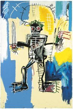"""Jean Michel Basquiat, """"Warrior"""" von 1982, Acryl und Ölstift auf Holz, 183 mal 122 cm, für 4,95 Millionen Pfund (Taxe 5/7 Millionen Pfund)"""