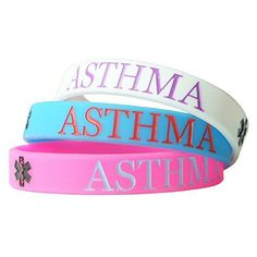 Hairyworm - Asthma Child Size Silicone Wristband Combi Pack (pack of 3 Wristbands) *** See this awesome product @…