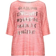 Open End Coral-Orange / Silver Plus Size Metallic slogan print t-shirt ($93) ❤ liked on Polyvore featuring tops, t-shirts, plus size, 3/4 sleeve tee, loose t shirt, plus size tops, womens plus size t shirts and plus size 3/4 sleeve tee