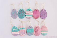 Baking Soda Easter Eggs Ornaments - Easter Crafts #easter #eastercrafts #eastereggs