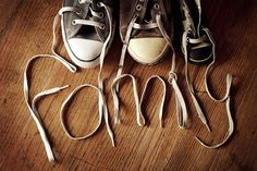 a different kind of family photo!  line up a shoe from each person, and spell your last name, etc.