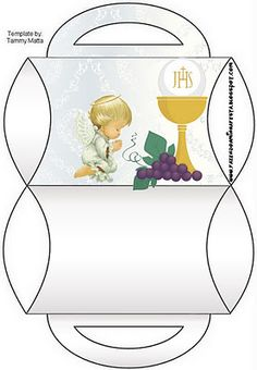 First Communion: Free Printable Party Boxes. Première Communion, First Holy Communion, Printable Box, Free Printables, 3d Cards, Stampin Up Cards, Baptism Party Decorations, Faith Crafts, Catholic Kids