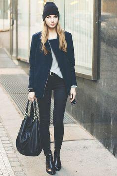 Black zipper jacket. Skinny black jeans. Beanie. Ankle boots.