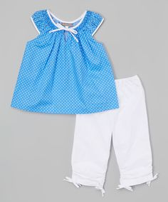 Look at this Les Petits Soleils by Fantaisie Kids Blue & White Flowers Ruffle Top & Pants - Infant, Toddler & Girls on #zulily today!