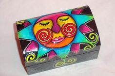 Painted Boxes, Hand Painted, Decoupage, Sun Moon Stars, Altered Boxes, Little Boxes, Whimsical Art, Box Frames, Box Art