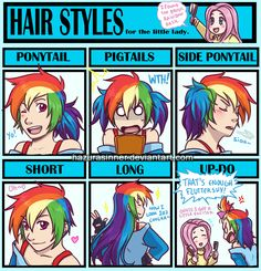 Human Fluttershy shows Rainbow Dash somenew hairstyles