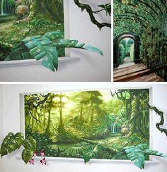 Trompe L'oeil: Artistic Wall Murals Bend & Twist Reality - from Urbanist .photos from sacredart-murals and apartment therapy. Faux Painting, Mural Painting, Mural Art, Wall Murials, Ceiling Murals, Sidewalk Art, Murals Street Art, Inspiration Wall, Chalk Art