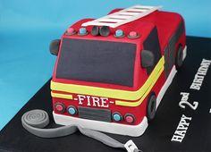 Fire engine cake I made recently layers of vanilla sponge cake filled with vanilla buttercream & strawberry jam Firefighter Birthday Cakes, Thomas Birthday Cakes, Harry Birthday, 3rd Birthday, Fireman Sam Cake, Fireman Party, Fire Engine Cake, Fire Fighter Cake, Fire Cake