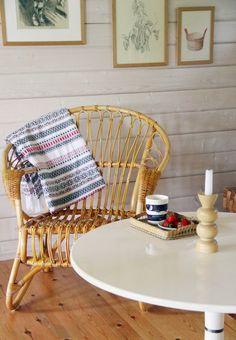 CIRKUS: old Lumikenkä chair from Parolan Rottinki Dream Furniture, Interior Design Inspiration, Wicker, Wordpress, Decor Ideas, Cottage, Chair, Decoration, Summer