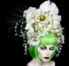 Spring Green, Meadow Flowers Fairy (NO WiG) hair headpiece costume Faerie world Burning Man Renaissance Fair Wedding, Bride