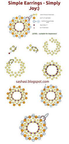 art, crafts and beads: Free Tutorial - Earrings JOY with Preciosa Farfalle Beads Seed Bead Earrings, Beaded Earrings, Beaded Jewelry, Handmade Jewelry, Simple Earrings, Jewellery, Jewelry Making Tutorials, Beading Tutorials, Free Tutorials
