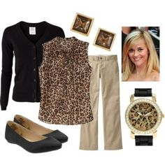 Black Cardigan, Leopard  Blouse, Khaki Pants, Black Shoes, Gold Jewelry