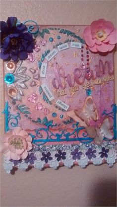 Beautiful Bohemian wall art. (Girlie) This is an 8x10 wall hanging that includes embellishments, acrylic paints, Shimmerz, magnetic poetry, textiles, chalk ink, stencil, chipboard, craft flowers. The flower on top left corner is actually purple but is photographing navy for some reason. Great for new agers, Bohemian art or just plain daily inspiration!   Not seeing something you like here? No worries mate, start a convo with me here and Im sure we can come up with something awesome together…