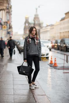 jacket by Bruuns Bazaar, knit from Acne, shoes and bag from Celine and jeans from Caroline Blomst.