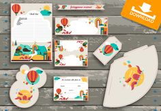 Invito e kit favola | Festeggiamo insieme  #kit #scaricabili #gratis per la #festa dei #bimbi. Contiene invito, checklist, segnaposto, caketopper, cupcake topper, bandierine per cannucce, chiudipacco, festoni, etichette, cappellini e cartello per la porta.
