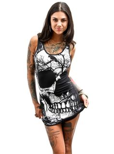 "Women's ""Half Skull"" T Dress by Jawbreaker (Black)"