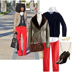 """red pants inspiration"" by shopwithm on Polyvore"